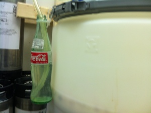 Fermenting beer: excess CO2 bubbles into the Coke bottle.